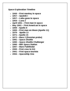 Space Travel Timeline Project