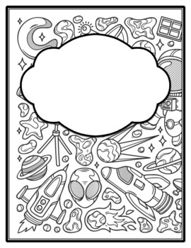 Space Universe Galaxy Binder Cover And Spines Coloring Pages Back To School