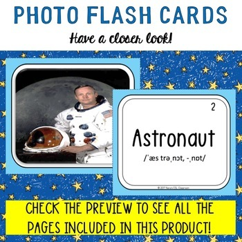 Space Photo Flash Cards Photo in front and Word back