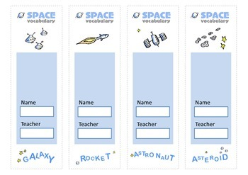 Space Vocabulary Bookmarks