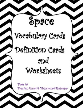 Space Vocabulary Card, Definition Cards and Cut and Paste Worksheets