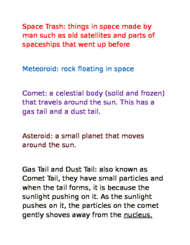 Space Vocabulary Definitions