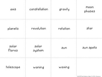 Space Vocabulary {Flash Cards, Memory or Matching Cards}
