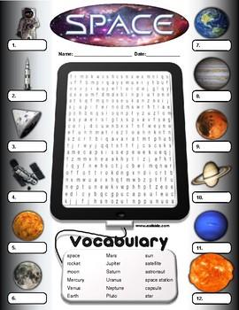 Space Vocabulary Identify Activity