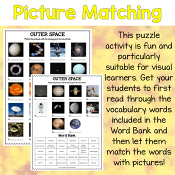 Vocabulary matching ESL puzzles about Space for teens