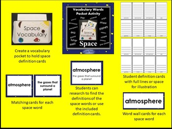 Space Vocabulary Pocket Activity with Word Wall Cards