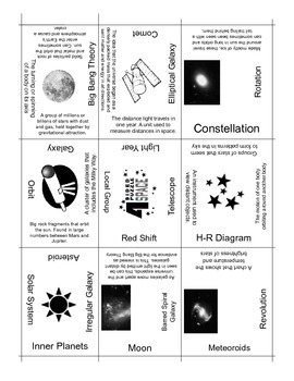 Space Vocabulary Puzzle, 4 Sided Review Puzzle {NEW}