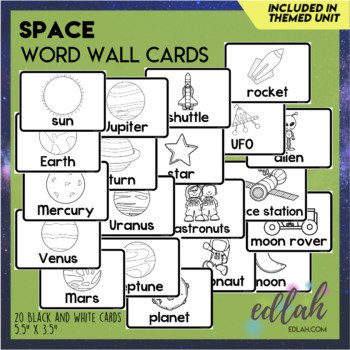 Space Vocabulary Word Wall Cards (set of 15) - Black & White Version