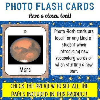 Space Vocabulary Words 30 Photo Flash Cards with Photo and Word in front