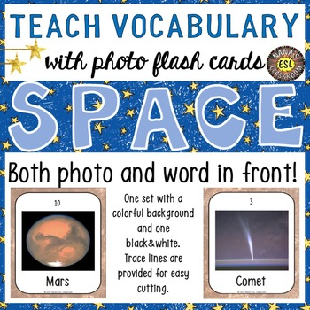 Space 30 Flash Cards - Photo and Word in front