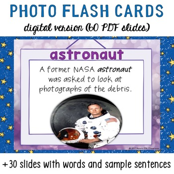 Space Vocabulary Words 30 Photo Flash Cards with sample sentences