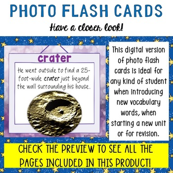 Space Digital Photo Flash Cards with Sample Sentences