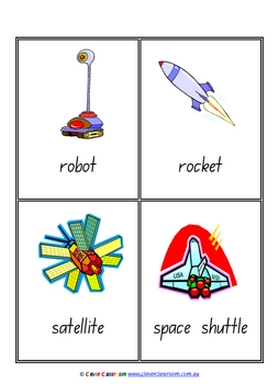 Space Vocabulary/Flash Cards/Word Wall - Outer Space - 5 pages