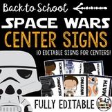 Space Wars Classroom Decor: Editable Center Signs