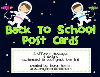 Space Welcome Back to School Post Card (Customized for Kinder - Sixth Grade)