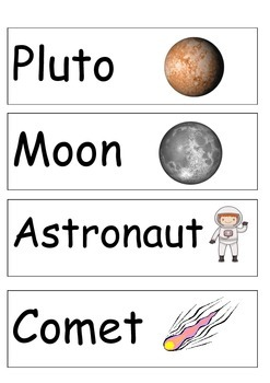 Space Word Cards- 20 Cards