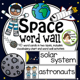 Space Word Wall - 40 word cards 2 sizes, plus word list an
