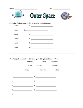 Space Worksheet Activities