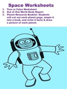 Space Worksheet and Research Booklet & Book Report