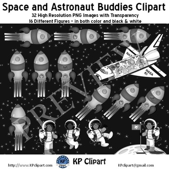 Space and Astronaut Buddies Clipart