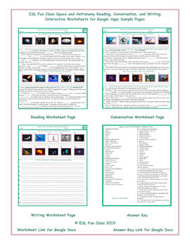 Space and Astronomy Read-Converse-Write Interactive Worksheets for Google  Apps