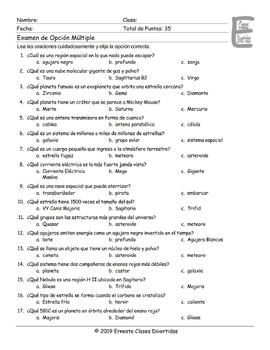 Space and Astronomy Spanish Multiple Choice Exam