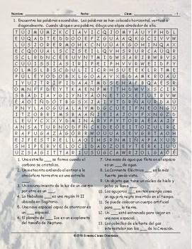 Space and Astronomy Spanish Word Search Worksheet