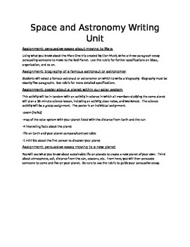 Space and Astronomy Writing Unit