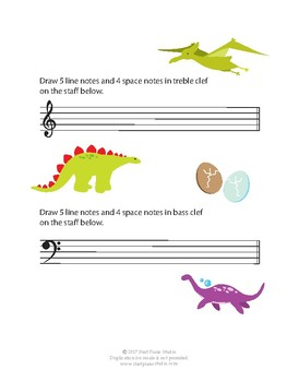 Space and Line Notes DINO Exercise Booklet