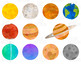 Space and Planets Clip Art, Watercolor Solar System