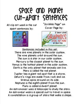 Space and Planets Cut Apart Sentences