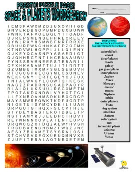 Space and Planets Puzzle Page (Wordsearch and Criss-Cross)
