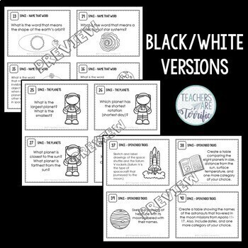 Space and Planets Task Cards