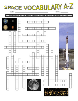 Space and Planets Vocabulary Puzzle