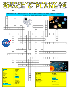 Space and Planets (Vocabulary Puzzle and Definitions)
