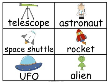 Space and Planets Word Wall Cards & Personal Word Wall