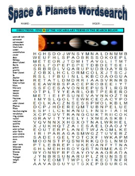 Space and Planets Wordsearch