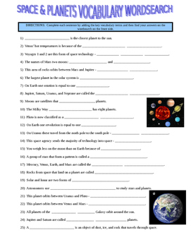 Space and Planets Wordsearch (Vocabulary)