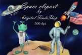 Space clipart, cosmos clipart, UFO clipart, alien clipart