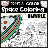 Space coloring pages for kids {coloring sheets + poster}