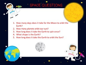 Space factfile with questions