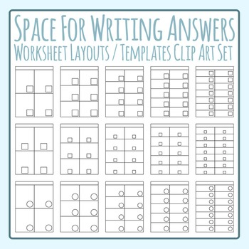 Space for Writing Answers Worksheet Template / Layout Clip Art Commercial Use