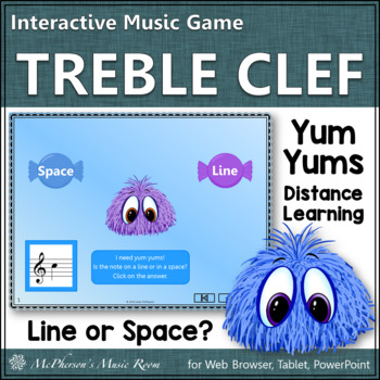 Music Game: Treble Clef Space or Line Notes Interactive Music Game {Yum Yums}