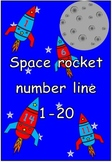 Space rocket number line 0-20