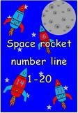 Space rocket number line 0-20
