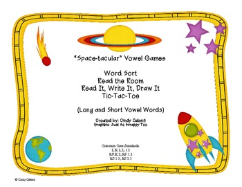 """""""Space-tacular"""" Long and Short Vowel Sound Games and Activities"""