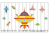 Space themed Alphabet Sequence Puzzle.  Preschool Alphabet learning game.