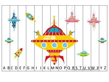 Space themed Alphabet Sequence Puzzle.  Preschool Alphabet