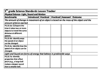 Space themed 5th grade lesson tracker (based on Ohio)