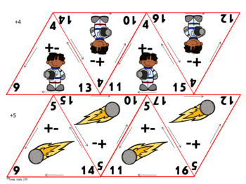 Space themed Addition & Subtraction Triangle Flash Cards